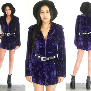 Vintage VELVET Crushed Purple Bell Sleeve ROMPER Playsuit // Handmade Zipper // Boho Gypsy Grunge Hipster // XS Extra Small / Small