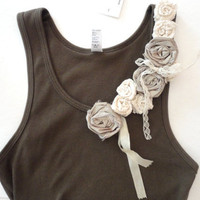 Flower Decorated Tank Top, Chic Boho Style