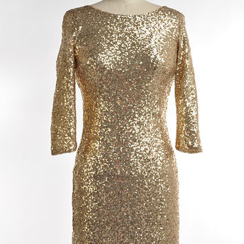 """Bling"" Gold Sequin Cocktail Dress"