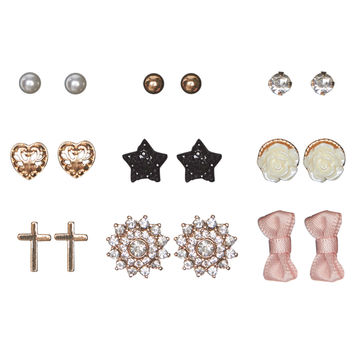 Dainty Button Earring Mix Set | Wet Seal