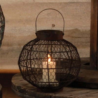 Coastal Home Decor & Gifts - Shop of the Sea — Globe Party Lantern - Rusty Finish - Med.