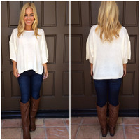 Square One Short Sleeve Sweater - IVORY