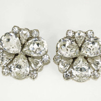WEISS Rhinestone Earrings Vintage Signed Wedding Bridal