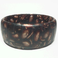 Funky Chunkie bangle bracelet, featuring coffee beans, paper wrapped bracelet for the foodie lovers