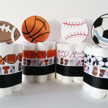 Sports Mini Diaper Cakes Centerpieces, Boys Diaper Cakes, Football Baby Shower Decor, Football Basketball Soccer Baseball, Sports Fanatic