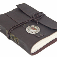 Dark Brown Leather Journal with Music Cameo Bookmark