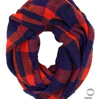 Flannel Infinity Scarf-Red/Blue