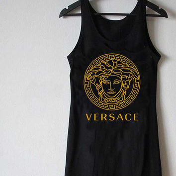 versace logo gold for Tank Top Mens and Tank top Girls