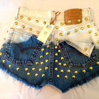 High waist destroyed blue ombre denim shorts super frayed and studs size Sm/Med