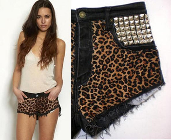 HypoxicAndLost - Handmade - Black DENIM leopard print CUT OFF shorts (au8)(us4)