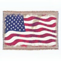 Red White Blue Stars Stripes Watercolor Painting