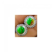 Handmade 925 sterling silver Gemstone Green Copper Turquoise Stud
