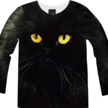 Black Cat Long Sleeve Shirt created by ErikaKaisersot | Print All Over Me