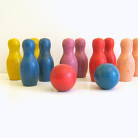 Wood Bowling Pins Toy