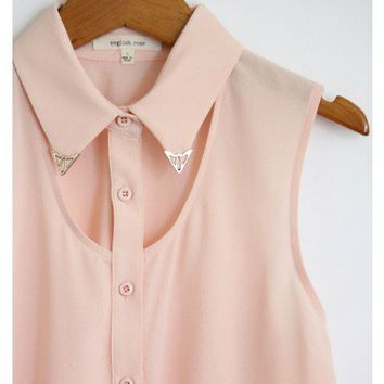 Light Pink Metal Tip Collar Tank
