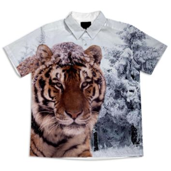 Siberian Tiger Short Sleeve Blouse created by ErikaKaisersot | Print All Over Me