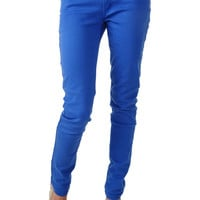 Low-Rise Bright Blue Skinny Jeans