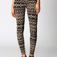 Jade Stone &amp; Black Aztec Print Leggings