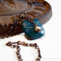 Chrysocolla Necklace - Antique Brass - Blue Stone and Pearl - Natural Stone Pendant - Wire Wrapped Pearl - Brass Filigree