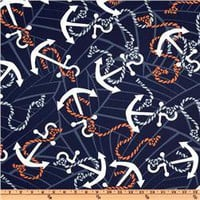 Anchors Away Navy - Discount Designer Fabric -  Fabric.com