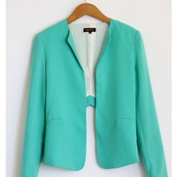Turquoise Cut Out Tailor Blazer