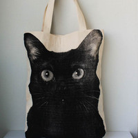 Black cat  big size Canvas tote bag/Diaper bag/Shopping bag/ Document bag /Market Bag.