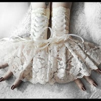 Solstice Corset Laced Up Fingerless Glove Wrist Cuffs - Ivory Lace White Ribbon - Lolita Rococo Fusion Bellydance Regency Aristocrat Bridal