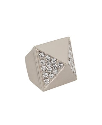 Rhinestoned Pyramid Ring
