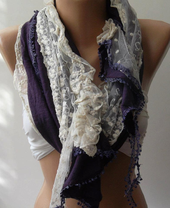 Purple - Elegance Shawl // Scarf with Lace Edge,,,