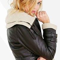 BDG Shearling Faux Leather Jacket - Urban Outfitters