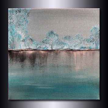 Monochromatic Landscape Painting: Metallic Teal Green