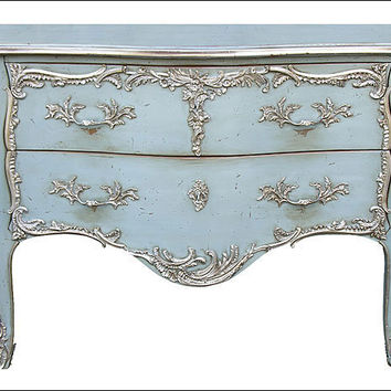 Louis XV Style Bombe Chest with Two Drawers with Antiqued Light