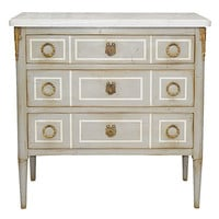 Louis XVI Style Chest with Three Drawers in Beige