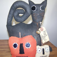 Primitive Cat and Jacks Fabric Shelf Sitter/Doll for Fall and Halloween