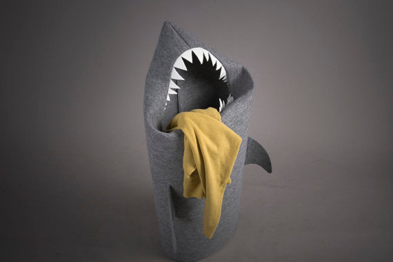 SHARK Felt laundry basket for bathroom or toy basket for children&#x27;s room