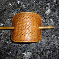 Basketweave Hand-Tooled Leather Ponytail Holder