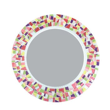 Round Mosaic Wall Mirror in Pink Yellow Green Purple