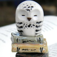 Hedwig the Sleepy Snowy Clay Owl: Harry Potter Inspired Owlery Miniatures