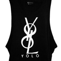 YOLO Unisex Sleeveless Black Tank