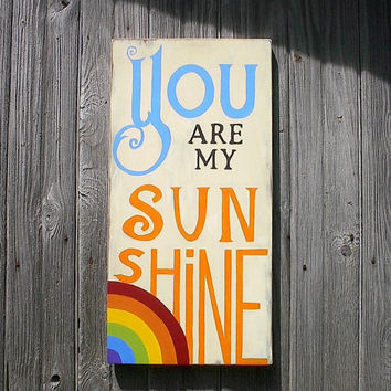You Are My Sunshine Sign Typography Word Art nursery Colorful Distressed Wood Subway Wall Sign
