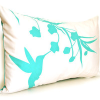 Mint Green Print on Off White Cotton Hummingbird with Eucalyptus Rectangle Pillow