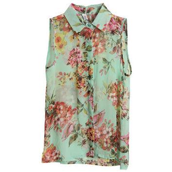 Flower Printed Green Chiffon Blouse [NCSHM0051] - $25.99 :