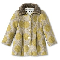Infant Toddler Girls' Polka Dot Peacoat with Faux Fur Trim