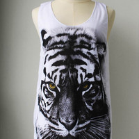 The Yellow Eye Siberian Tiger Animal White Tank Top Tunic Shirt Women/Men.