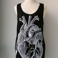 White Art Heart Anatomy  Print on Black Tank Top Tuinc Shirt  women Men.