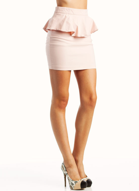 peplum-mini-skirt BLACK BLUSH PURPLE - GoJane.com