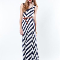 A&#x27;GACI V Neck Chevron Stripe Belted Maxi - Dresses
