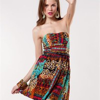 A&#x27;GACI Multi Tribal Belted Tube Dress - Dresses