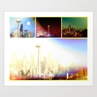 Society6 - Funky Space Needle Collage Art Print by Christine Aka Stine1