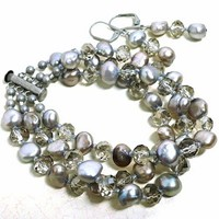 Classic Silver Pearl and Crystal MultiStrand Bracelet and Earrings Set